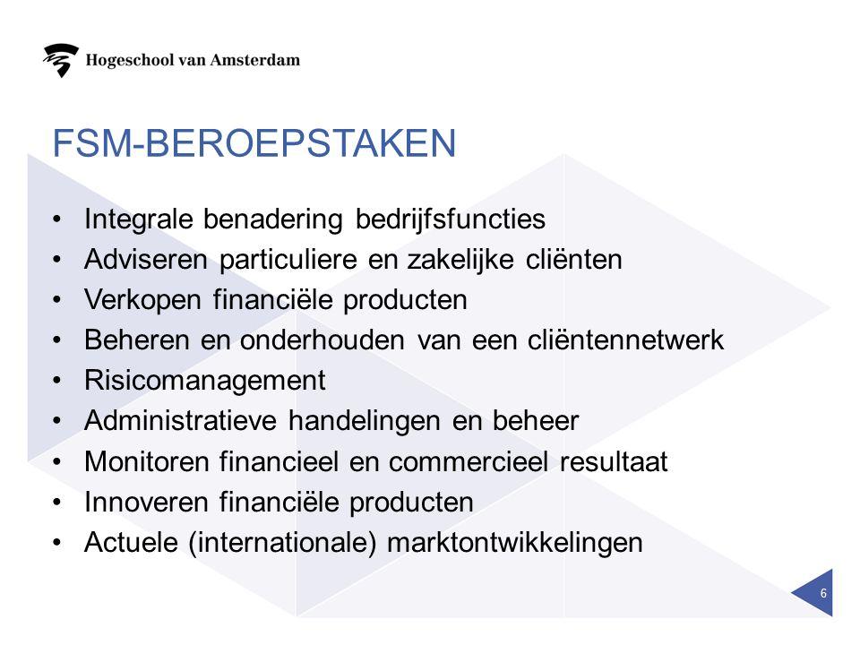FSM-BEROEPSTAKEN Integrale benadering bedrijfsfuncties Adviseren particuliere en zakelijke cliënten Verkopen financiële producten Beheren en onderhouden van een cliëntennetwerk Risicomanagement Administratieve handelingen en beheer Monitoren financieel en commercieel resultaat Innoveren financiële producten Actuele (internationale) marktontwikkelingen 6