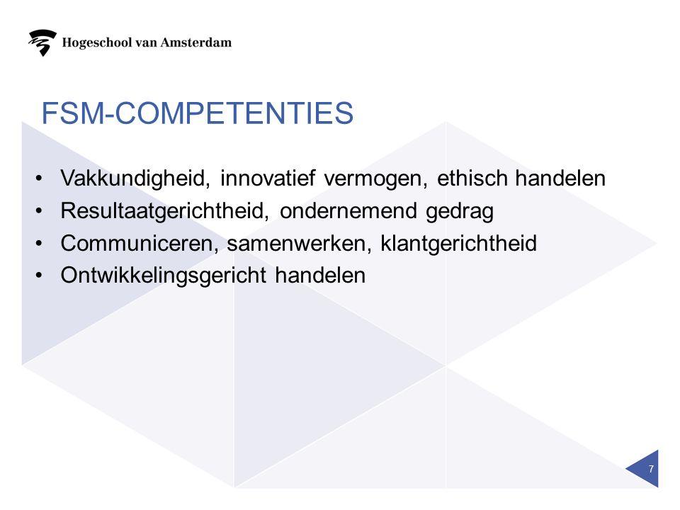 FSM-COMPETENTIES Vakkundigheid, innovatief vermogen, ethisch handelen Resultaatgerichtheid, ondernemend gedrag Communiceren, samenwerken, klantgerichtheid Ontwikkelingsgericht handelen 7