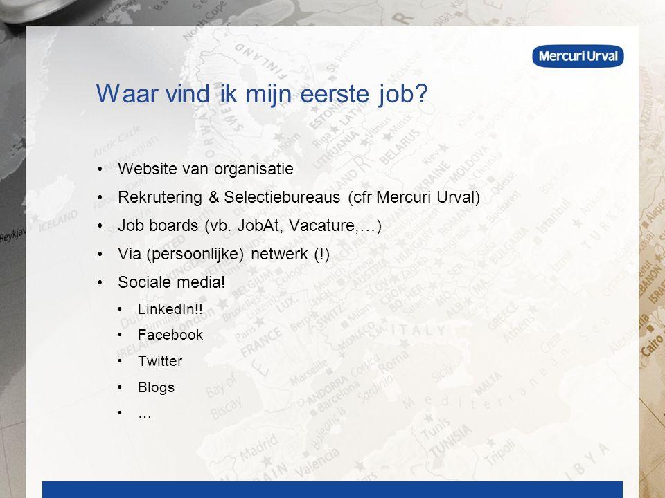 Website van organisatie Rekrutering & Selectiebureaus (cfr Mercuri Urval) Job boards (vb.