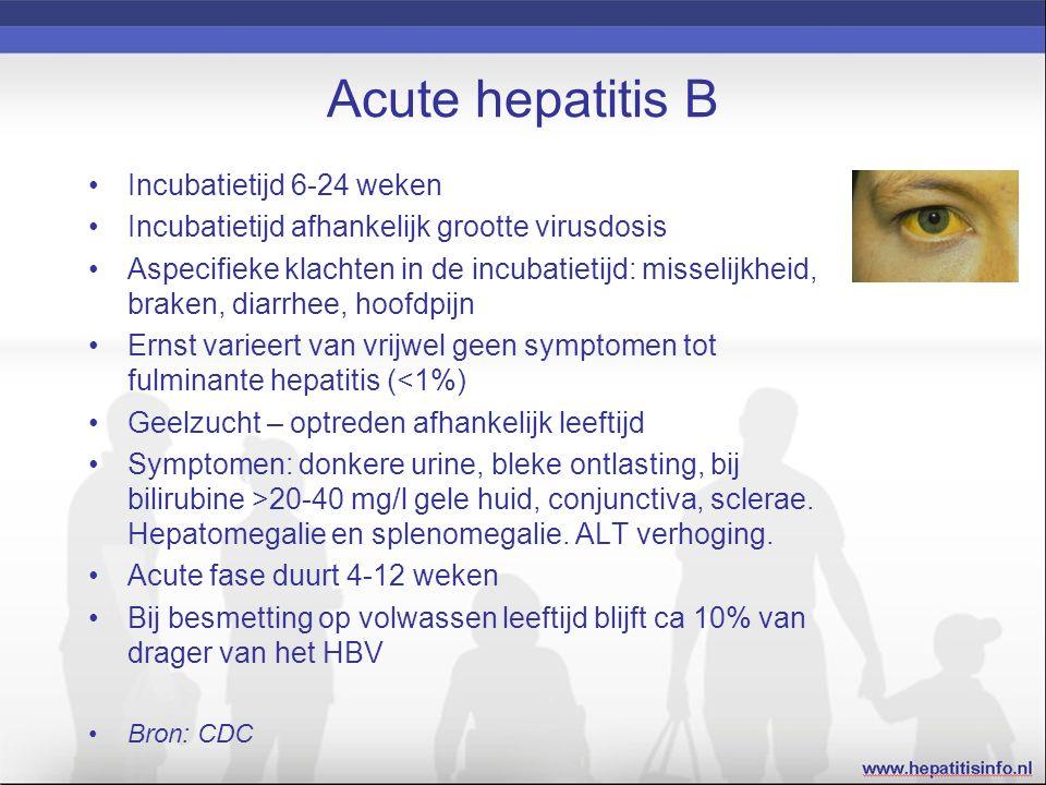 Acute hepatitis B Incubatietijd 6-24 weken Incubatietijd afhankelijk grootte virusdosis Aspecifieke klachten in de incubatietijd: misselijkheid, brake