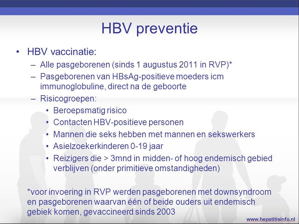 HBV preventie HBV vaccinatie: –Alle pasgeborenen (sinds 1 augustus 2011 in RVP)* –Pasgeborenen van HBsAg-positieve moeders icm immunoglobuline, direct