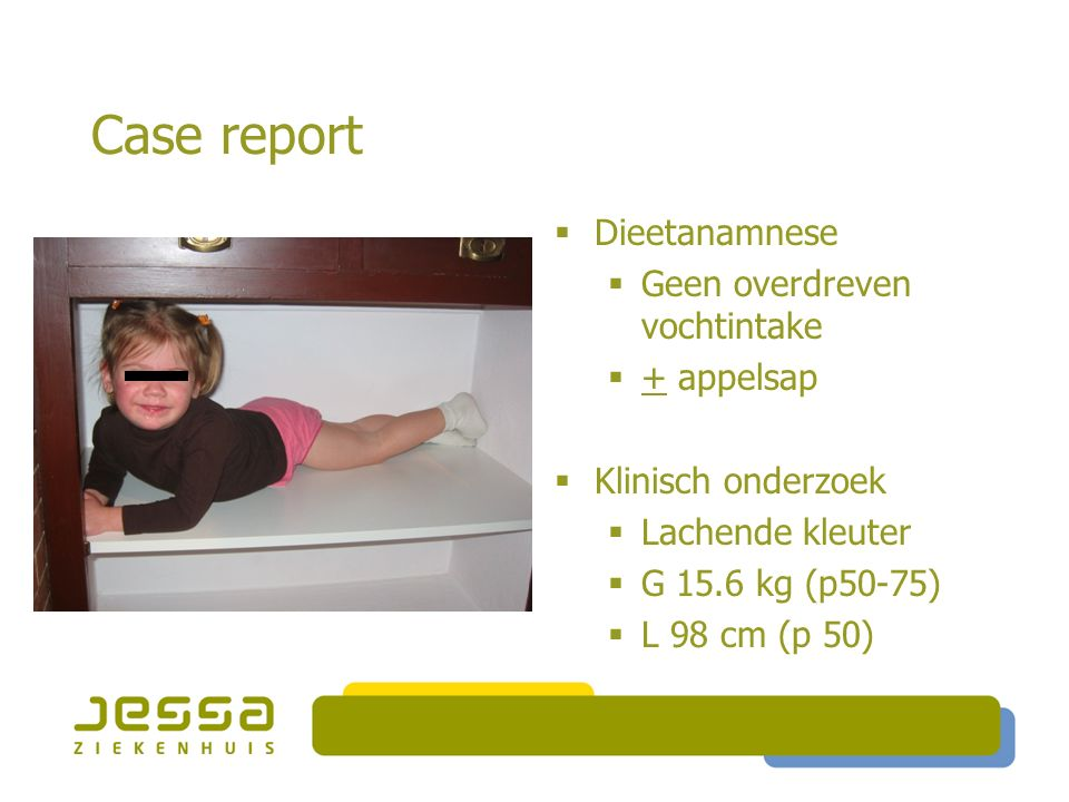 Case report  Bloedbeeld : geen bijzonderheden  Na 140 mmol/l; K 3.2 mmol/l; Cl 105 mmol/l  Bicarbonaat 22.5 mmol/l  Sed : 5 mm/u  Cholesterol, triglyceriden, tot eiwit : nl  IgA : 55 mg/dl  Endomysium Ab : neg  T4, TSH : nl