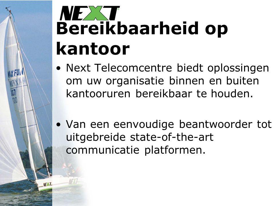 Bereikbaarheid op kantoor Next Telecomcentre biedt oplossingen om uw organisatie binnen en buiten kantooruren bereikbaar te houden. Van een eenvoudige