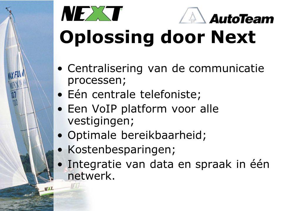 Oplossing door Next Centralisering van de communicatie processen; Eén centrale telefoniste; Een VoIP platform voor alle vestigingen; Optimale bereikbaarheid; Kostenbesparingen; Integratie van data en spraak in één netwerk.