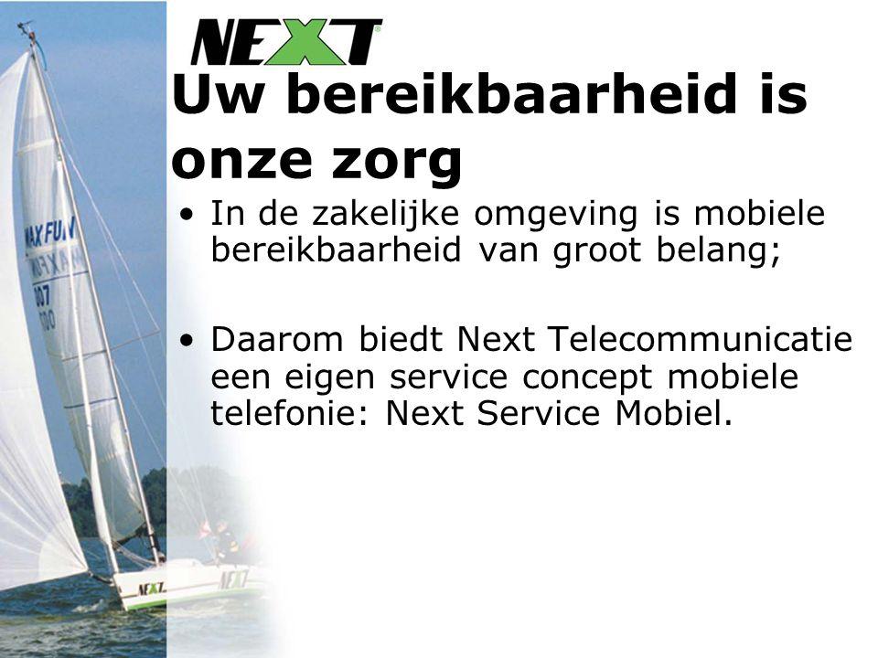 Uw bereikbaarheid is onze zorg In de zakelijke omgeving is mobiele bereikbaarheid van groot belang; Daarom biedt Next Telecommunicatie een eigen service concept mobiele telefonie: Next Service Mobiel.