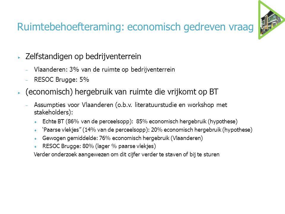 Ruimtebehoefteraming: economisch gedreven vraag  Zelfstandigen op bedrijventerrein  Vlaanderen: 3% van de ruimte op bedrijventerrein  RESOC Brugge: 5%  (economisch) hergebruik van ruimte die vrijkomt op BT  Assumpties voor Vlaanderen (o.b.v.