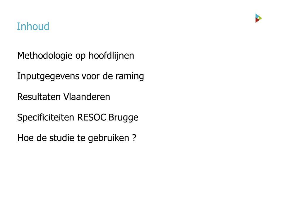 Inhoud Methodologie op hoofdlijnen Inputgegevens voor de raming Resultaten Vlaanderen Specificiteiten RESOC Brugge Hoe de studie te gebruiken