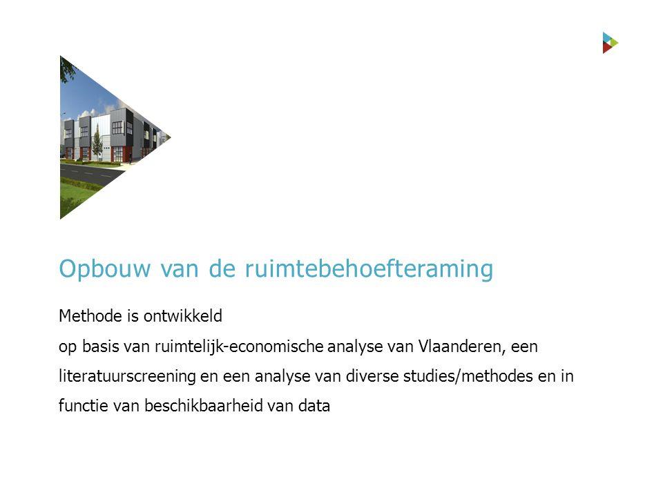 Methode is ontwikkeld op basis van ruimtelijk-economische analyse van Vlaanderen, een literatuurscreening en een analyse van diverse studies/methodes en in functie van beschikbaarheid van data Opbouw van de ruimtebehoefteraming