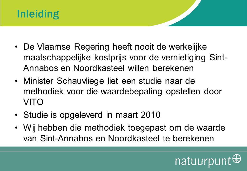 Methodiek Waarde voor beleving en overdrachtwaarde (voordeel voor gebruikers en recreanten) Ecosysteemdiensten: –Denitrificatie –C-, N- en P-opslag in de bodem –C-, N- en P-opslag in de biomassa –Afvang van fijn stof –Afvang van NO X –Afvang van NH 3 Geluidsreductie niet meegerekend (te weinig gegevens)
