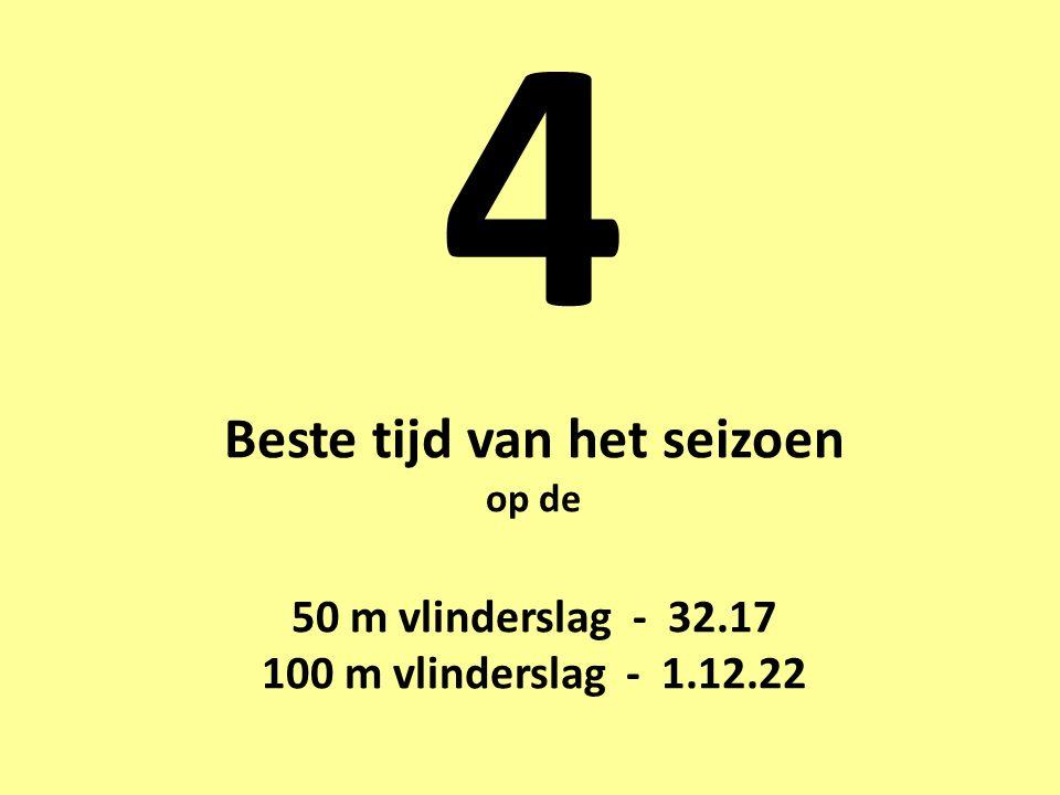 4 Beste tijd van het seizoen op de 50 m vlinderslag - 32.17 100 m vlinderslag - 1.12.22