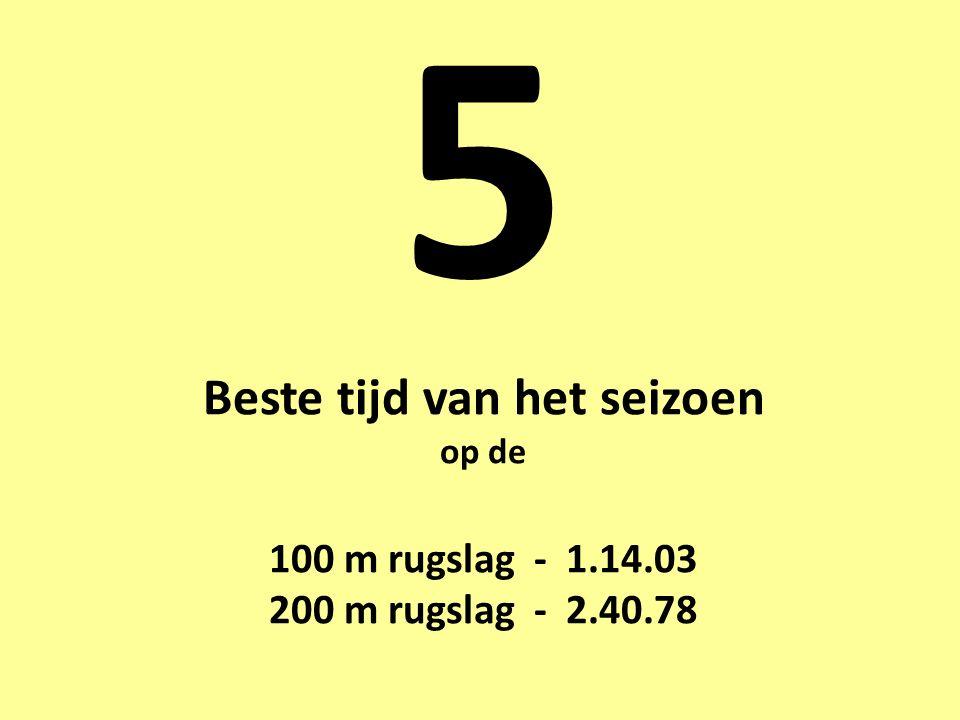 5 Beste tijd van het seizoen op de 100 m rugslag - 1.14.03 200 m rugslag - 2.40.78
