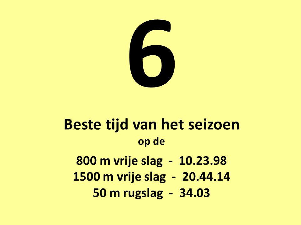 6 Beste tijd van het seizoen op de 800 m vrije slag - 10.23.98 1500 m vrije slag - 20.44.14 50 m rugslag - 34.03