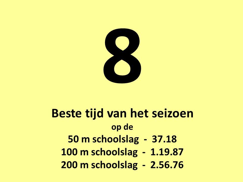 8 Beste tijd van het seizoen op de 50 m schoolslag - 37.18 100 m schoolslag - 1.19.87 200 m schoolslag - 2.56.76
