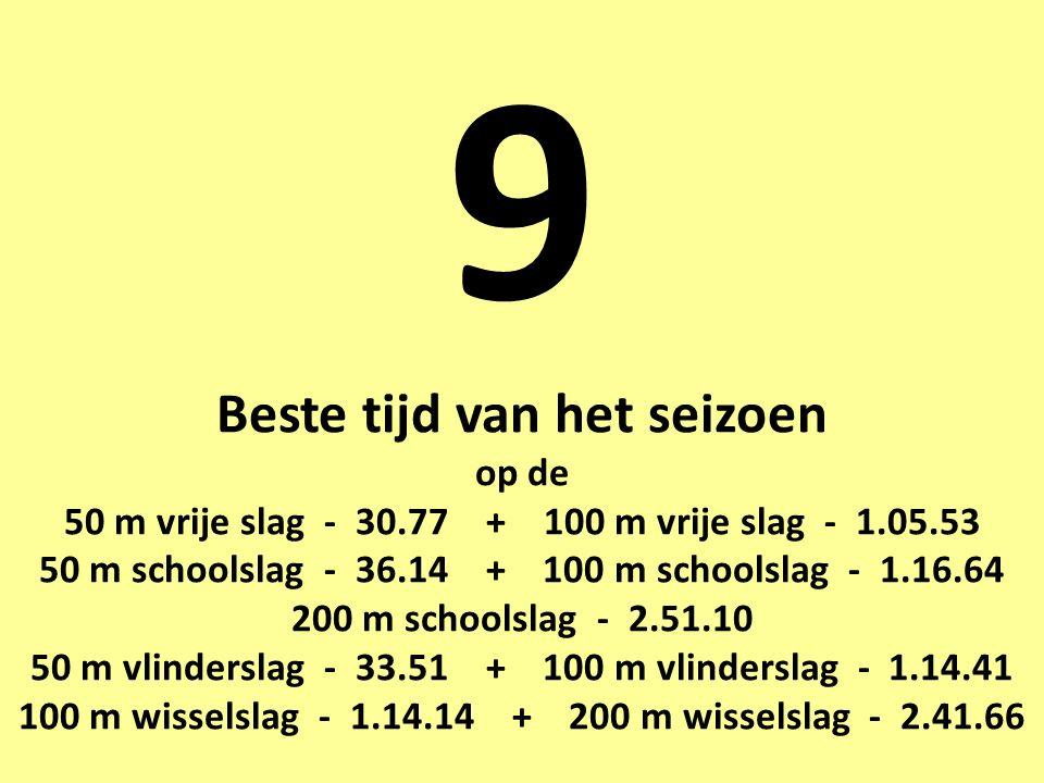 9 Beste tijd van het seizoen op de 50 m vrije slag - 30.77 + 100 m vrije slag - 1.05.53 50 m schoolslag - 36.14 + 100 m schoolslag - 1.16.64 200 m schoolslag - 2.51.10 50 m vlinderslag - 33.51 + 100 m vlinderslag - 1.14.41 100 m wisselslag - 1.14.14 + 200 m wisselslag - 2.41.66