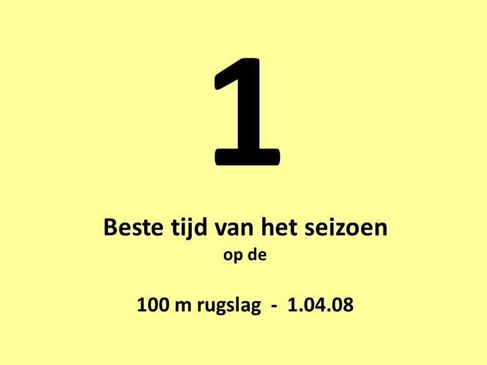 1 Beste tijd van het seizoen op de 100 m rugslag - 1.04.08