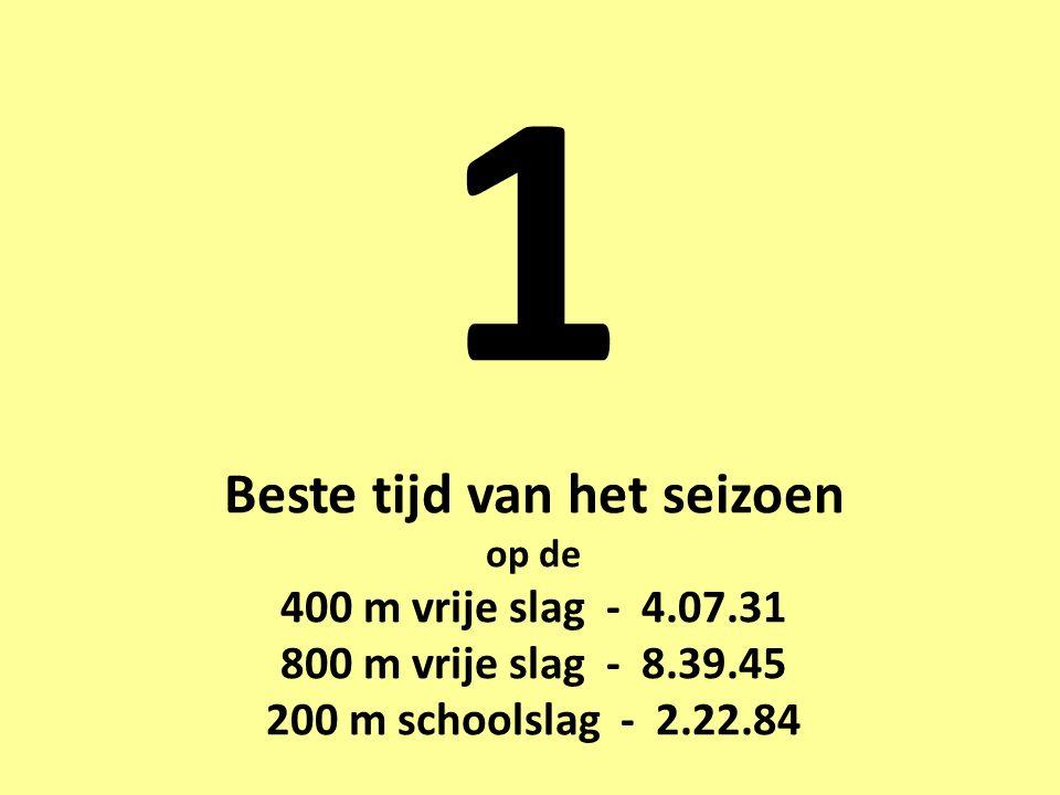 1 Beste tijd van het seizoen op de 400 m vrije slag - 4.07.31 800 m vrije slag - 8.39.45 200 m schoolslag - 2.22.84