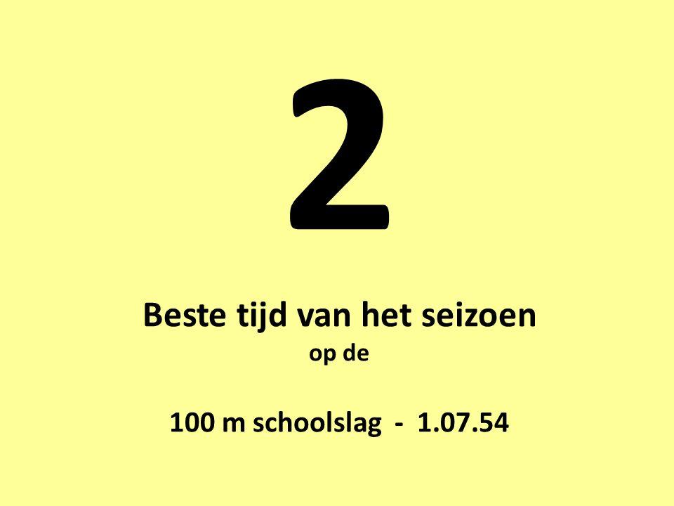 2 Beste tijd van het seizoen op de 100 m schoolslag - 1.07.54