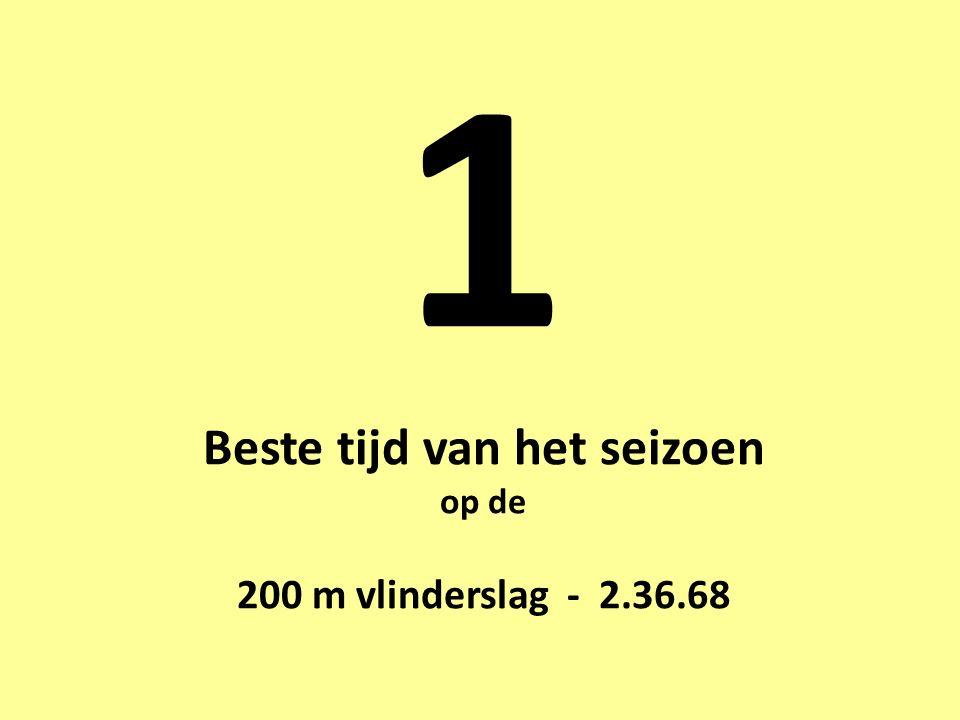 1 Beste tijd van het seizoen op de 200 m vlinderslag - 2.36.68