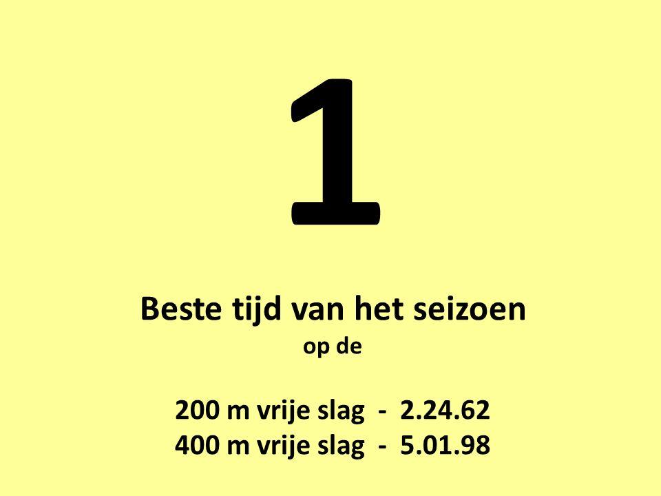 1 Beste tijd van het seizoen op de 200 m vrije slag - 2.24.62 400 m vrije slag - 5.01.98