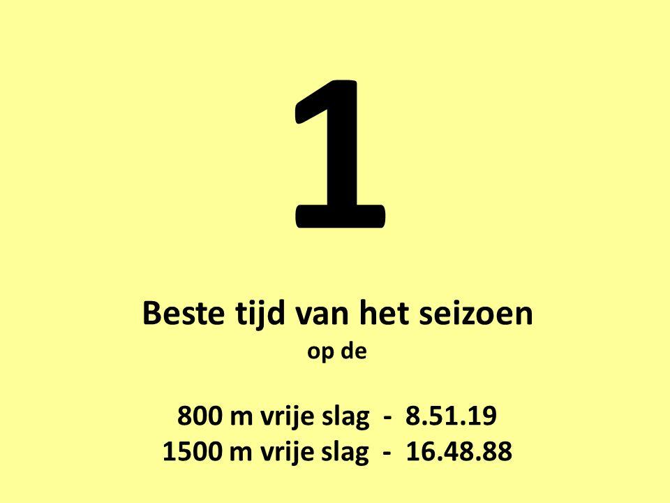 1 Beste tijd van het seizoen op de 800 m vrije slag - 8.51.19 1500 m vrije slag - 16.48.88