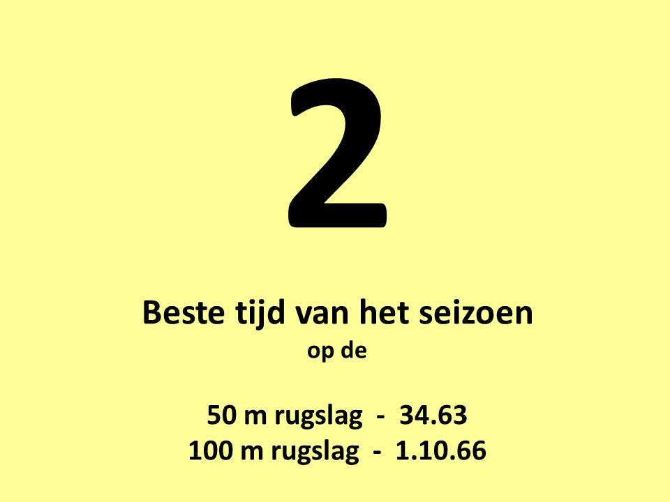 2 Beste tijd van het seizoen op de 50 m rugslag - 34.63 100 m rugslag - 1.10.66