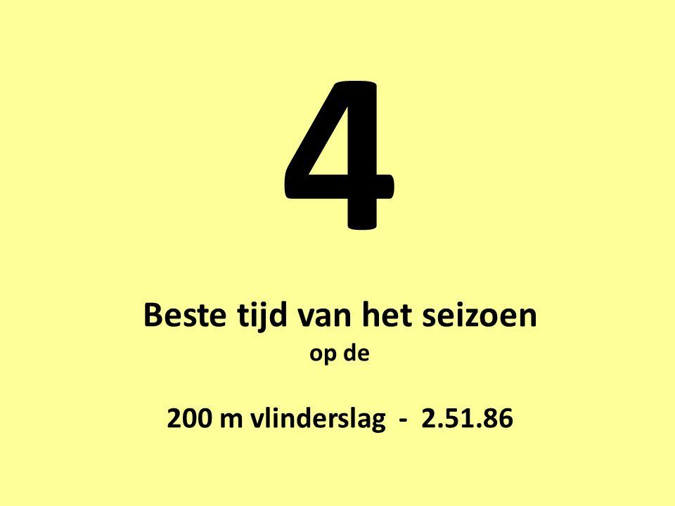 4 Beste tijd van het seizoen op de 200 m vlinderslag - 2.51.86