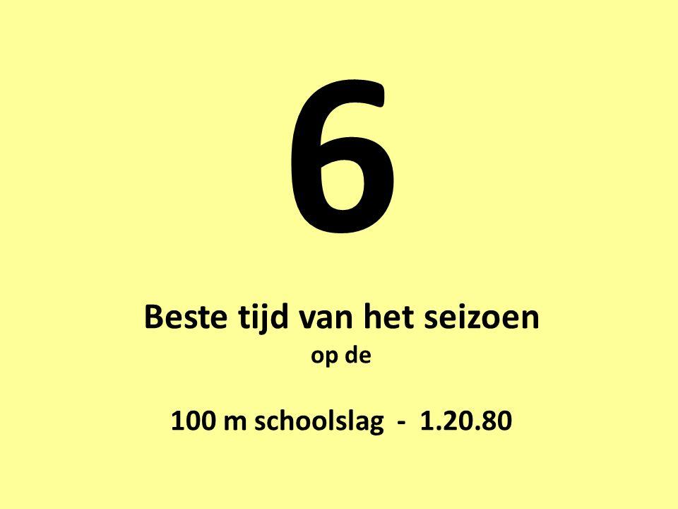6 Beste tijd van het seizoen op de 100 m schoolslag - 1.20.80
