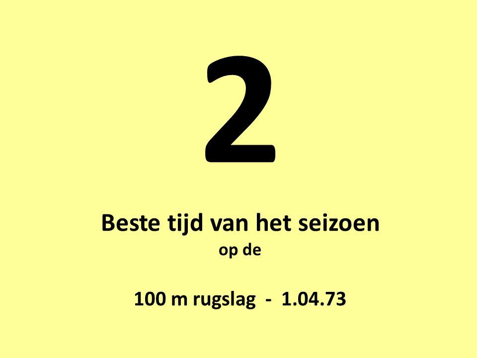 2 Beste tijd van het seizoen op de 100 m rugslag - 1.04.73