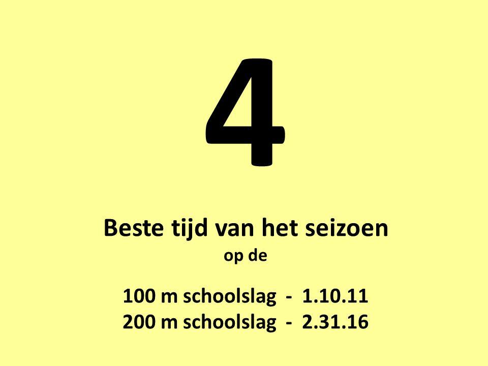 4 Beste tijd van het seizoen op de 100 m schoolslag - 1.10.11 200 m schoolslag - 2.31.16