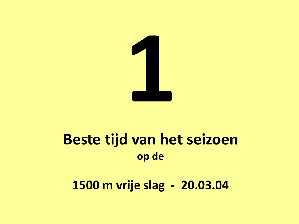 1 Beste tijd van het seizoen op de 1500 m vrije slag - 20.03.04