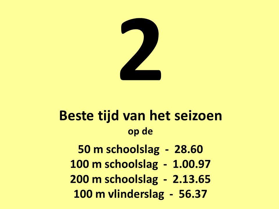 2 Beste tijd van het seizoen op de 50 m schoolslag - 28.60 100 m schoolslag - 1.00.97 200 m schoolslag - 2.13.65 100 m vlinderslag - 56.37
