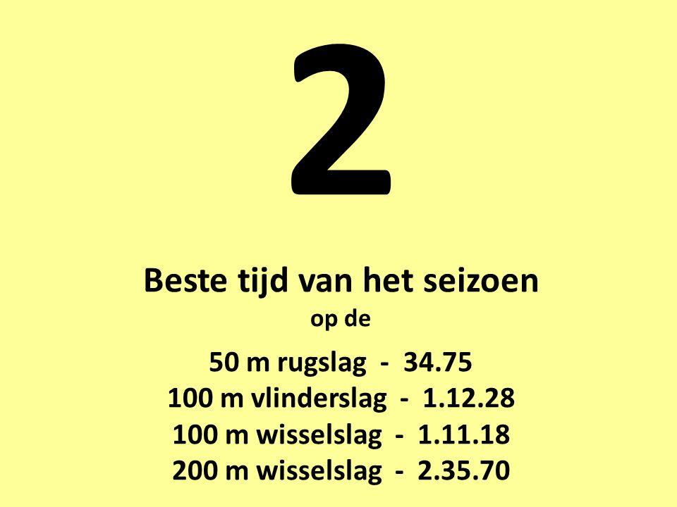 2 Beste tijd van het seizoen op de 50 m rugslag - 34.75 100 m vlinderslag - 1.12.28 100 m wisselslag - 1.11.18 200 m wisselslag - 2.35.70