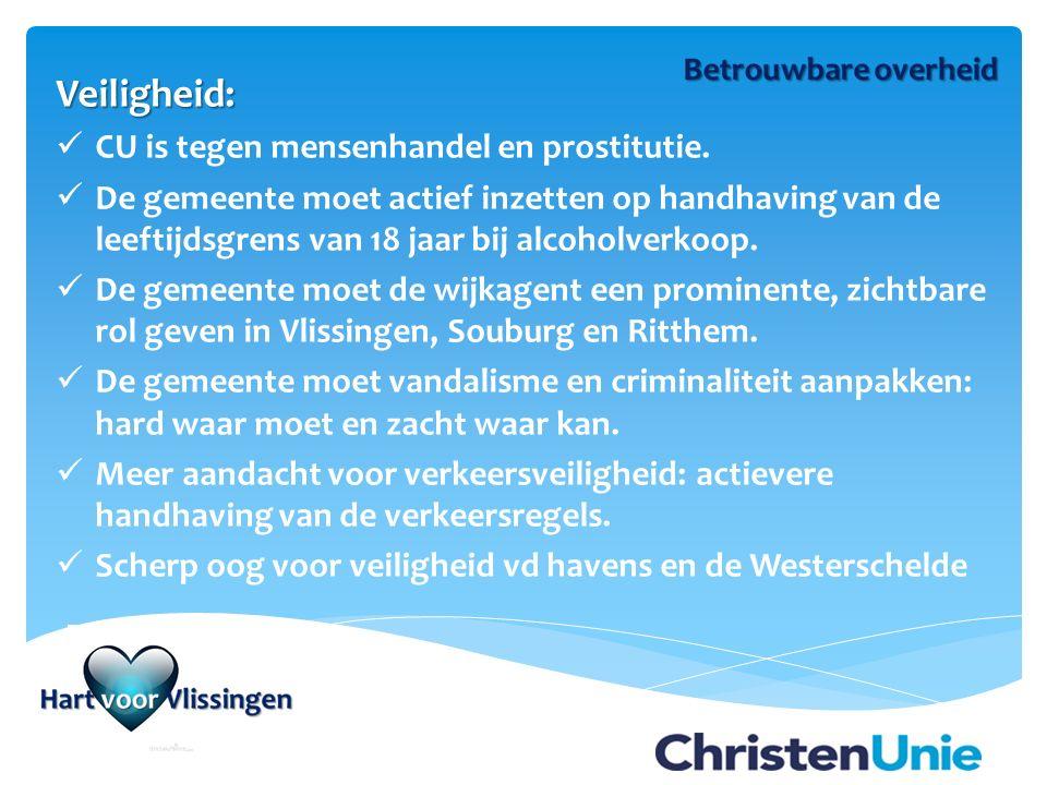 Veiligheid: CU is tegen mensenhandel en prostitutie.
