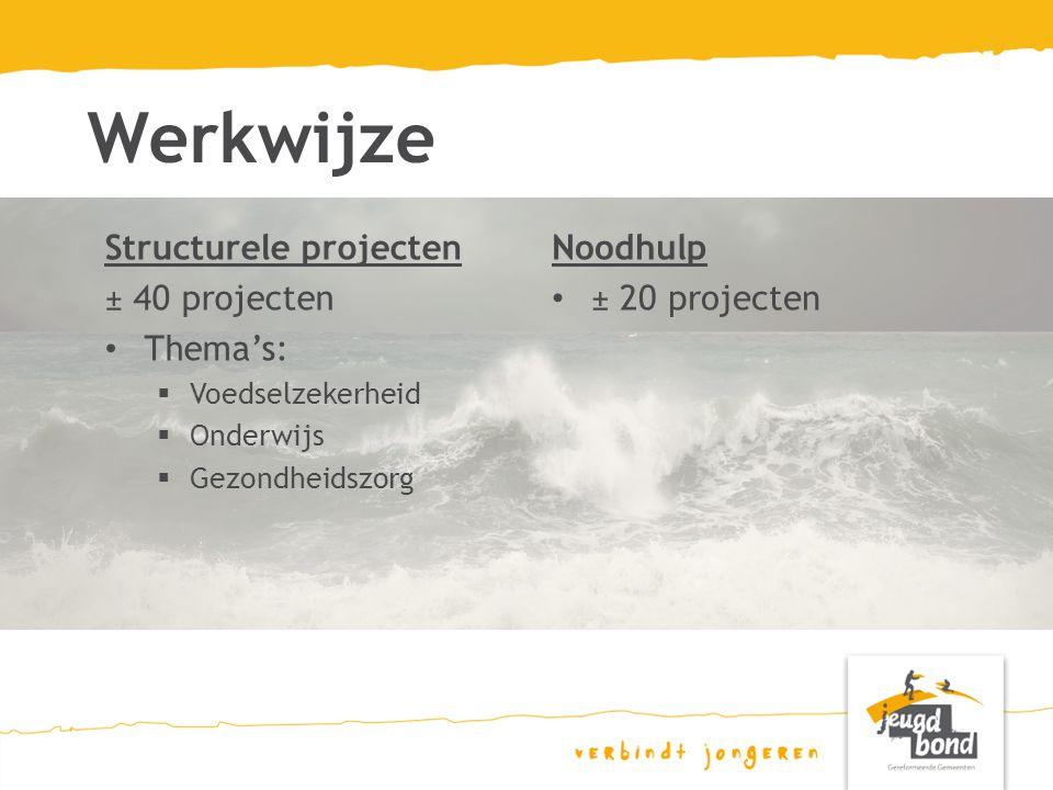 Werkwijze Noodhulp ± 20 projecten Structurele projecten ± 40 projecten Thema's:  Voedselzekerheid  Onderwijs  Gezondheidszorg