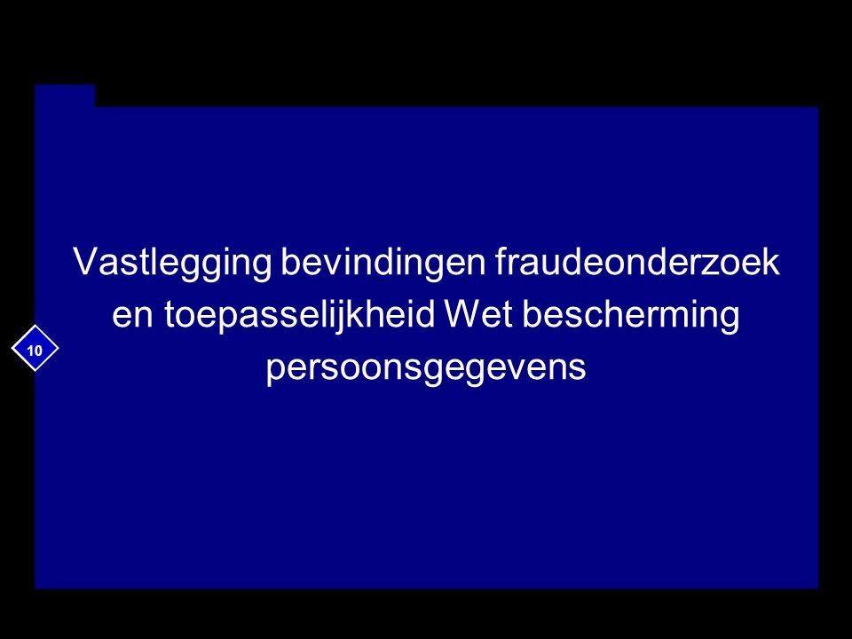 10 Vastlegging bevindingen fraudeonderzoek en toepasselijkheid Wet bescherming persoonsgegevens