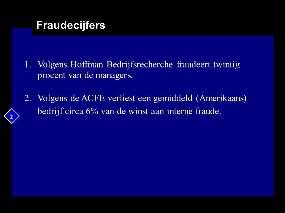 2 Fraudecijfers 1.Volgens Hoffman Bedrijfsrecherche fraudeert twintig procent van de managers. 2.Volgens de ACFE verliest een gemiddeld (Amerikaans) b