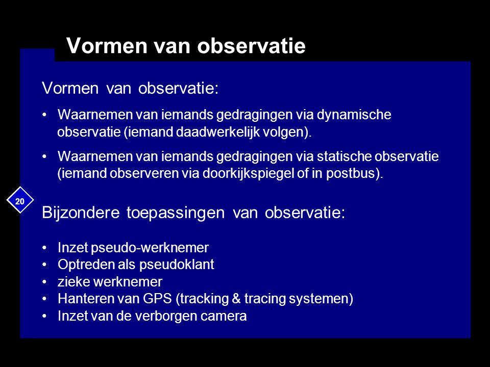 20 Vormen van observatie Vormen van observatie: Waarnemen van iemands gedragingen via dynamische observatie (iemand daadwerkelijk volgen). Waarnemen v
