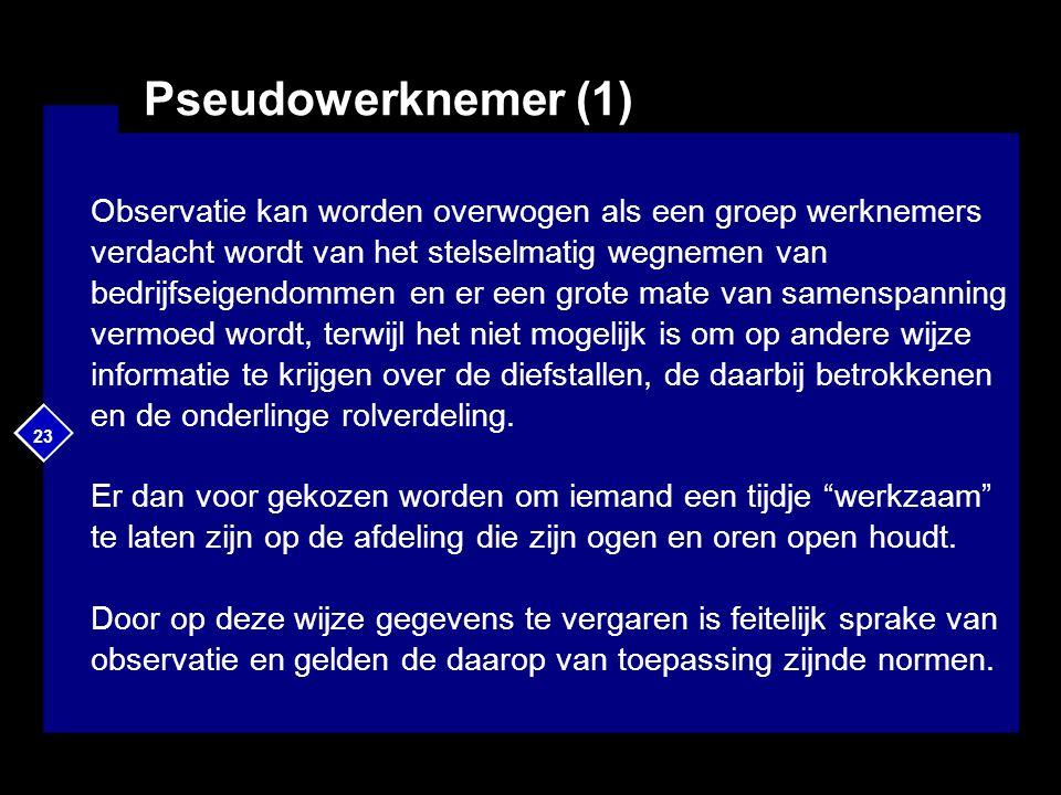 23 Pseudowerknemer (1) Observatie kan worden overwogen als een groep werknemers verdacht wordt van het stelselmatig wegnemen van bedrijfseigendommen e