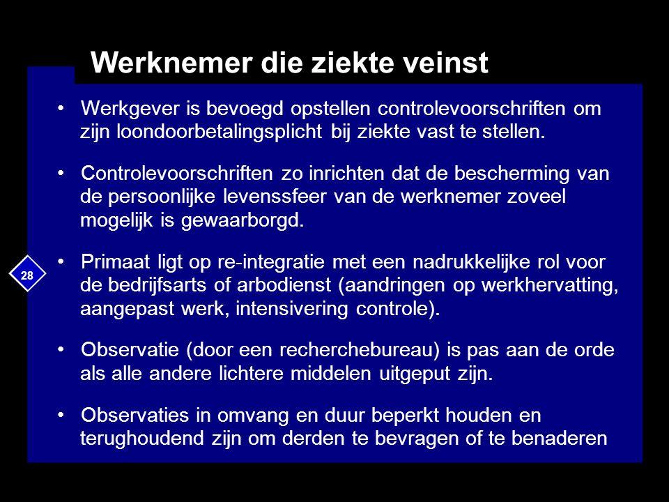 28 Werknemer die ziekte veinst Werkgever is bevoegd opstellen controlevoorschriften om zijn loondoorbetalingsplicht bij ziekte vast te stellen.
