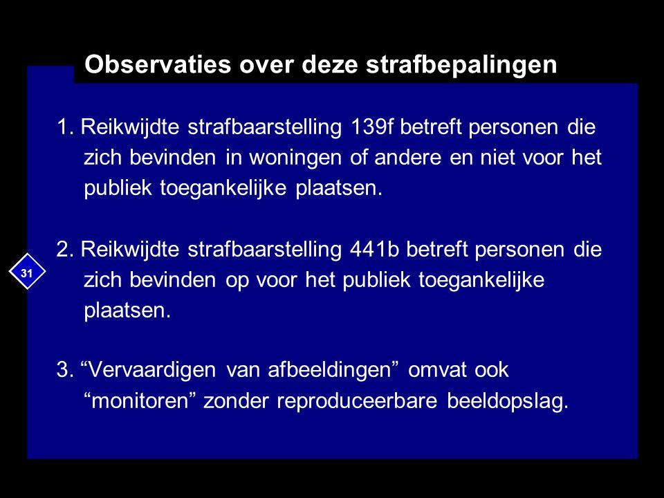 31 Observaties over deze strafbepalingen 1. Reikwijdte strafbaarstelling 139f betreft personen die zich bevinden in woningen of andere en niet voor he