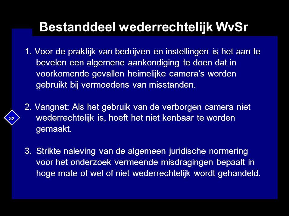 32 Bestanddeel wederrechtelijk WvSr 1. Voor de praktijk van bedrijven en instellingen is het aan te bevelen een algemene aankondiging te doen dat in v