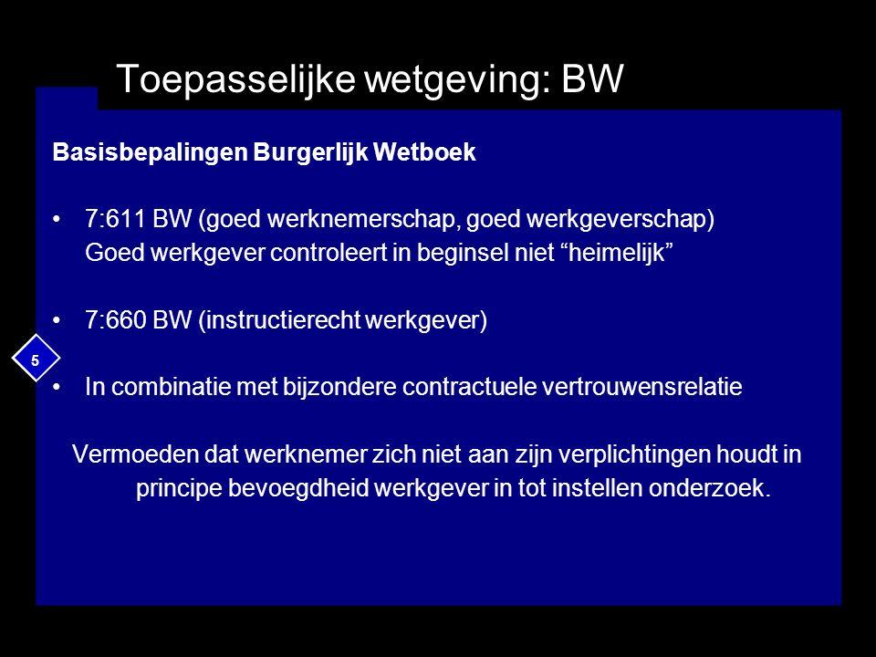 5 Toepasselijke wetgeving: BW Basisbepalingen Burgerlijk Wetboek 7:611 BW (goed werknemerschap, goed werkgeverschap) Goed werkgever controleert in beg