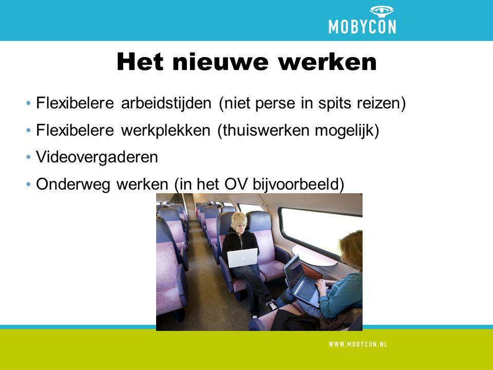 Het nieuwe werken Flexibelere arbeidstijden (niet perse in spits reizen) Flexibelere werkplekken (thuiswerken mogelijk) Videovergaderen Onderweg werken (in het OV bijvoorbeeld)