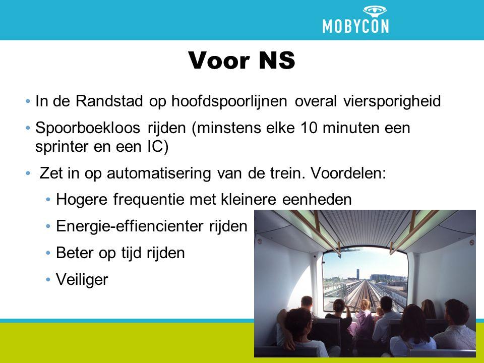 Voor NS In de Randstad op hoofdspoorlijnen overal viersporigheid Spoorboekloos rijden (minstens elke 10 minuten een sprinter en een IC) Zet in op automatisering van de trein.