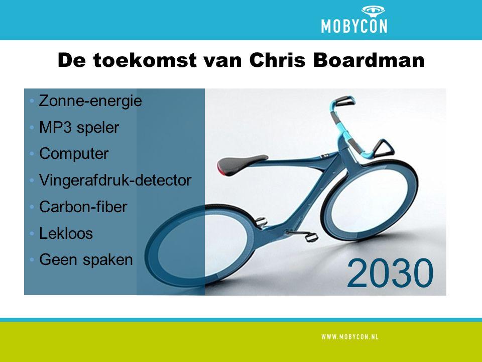 De toekomst van Chris Boardman Zonne-energie MP3 speler Computer Vingerafdruk-detector Carbon-fiber Lekloos Geen spaken 2030