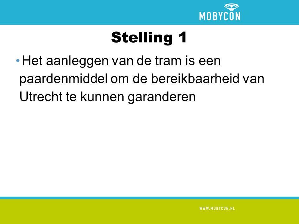 Stelling 1 Het aanleggen van de tram is een paardenmiddel om de bereikbaarheid van Utrecht te kunnen garanderen