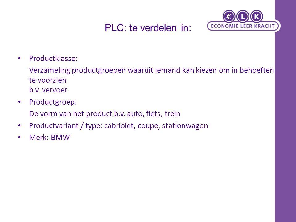 PLC: te verdelen in: Productklasse: Verzameling productgroepen waaruit iemand kan kiezen om in behoeften te voorzien b.v.