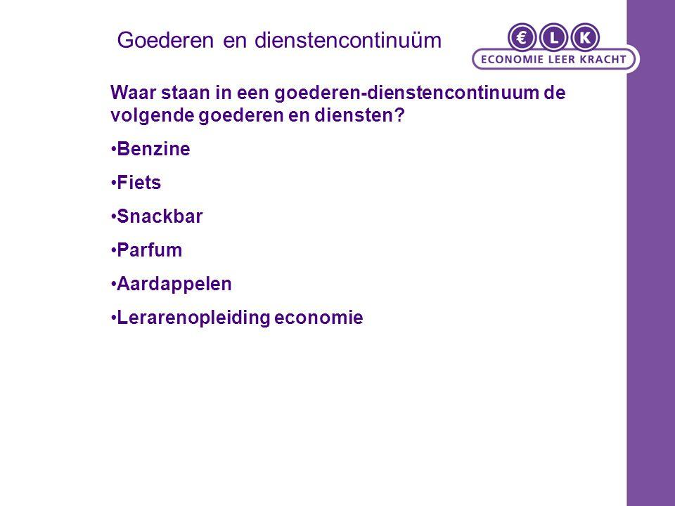 Goederen en dienstencontinuüm Waar staan in een goederen-dienstencontinuum de volgende goederen en diensten.