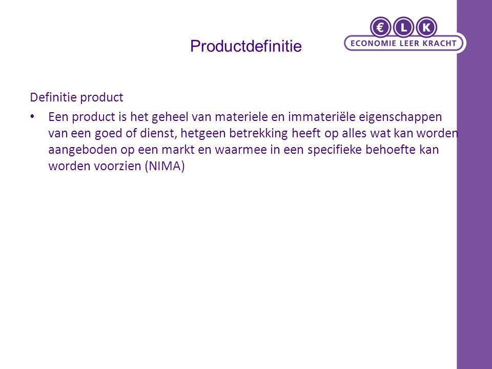 Productdefinitie Definitie product Een product is het geheel van materiele en immateriële eigenschappen van een goed of dienst, hetgeen betrekking heeft op alles wat kan worden aangeboden op een markt en waarmee in een specifieke behoefte kan worden voorzien (NIMA)
