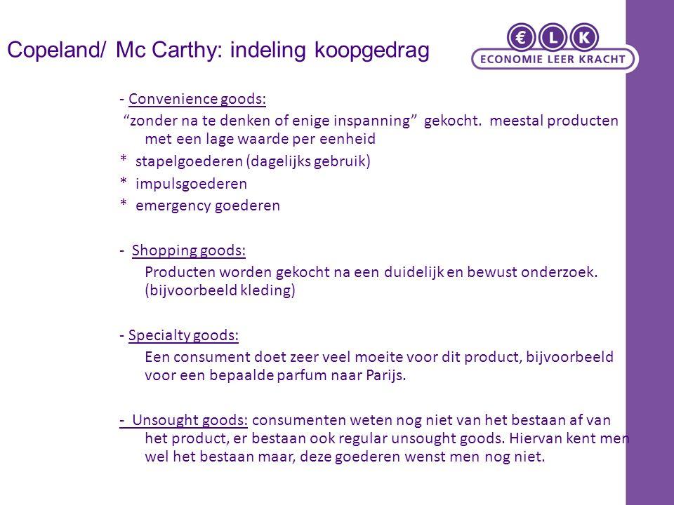 Copeland/ Mc Carthy: indeling koopgedrag - Convenience goods: zonder na te denken of enige inspanning gekocht.